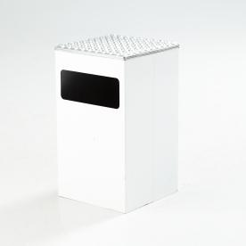 """GOLVASKOPP, Beck & Ljung, """"Ultima 30"""", underrede i form av vitlackerad plåt, askkoppen i formgjuten aluminium, höjd 51, 30x30 cm. Utrop 1 000 kr, klubbat för 650 kr. I april 2014, Stockholms auktionsverk."""